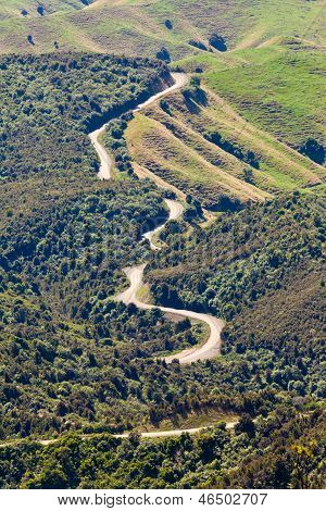Winding Road Landscape Of Hawke's Bay New Zealand
