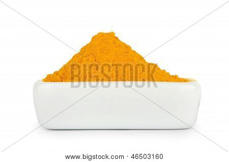 Turmeric Root Powder On White Background