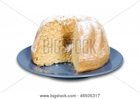 Cake with powdered sugar isolated on white with clipping path