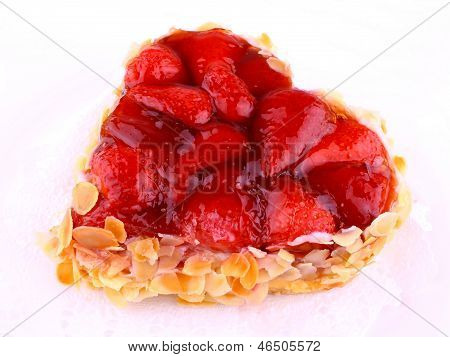 Strawberry Cake With Almond In Heart Shape