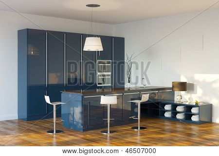 Luxury Hi-Tech Dark Blue Kitchen (Perspective View)