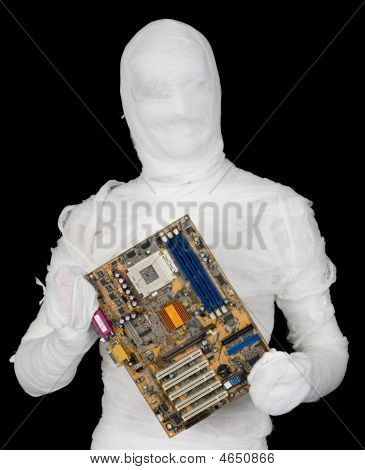 Bandaged Man With Motherboard