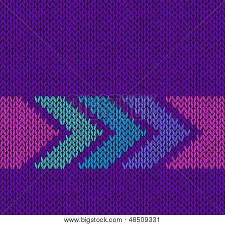 Style Seamless Violet With Blue Green Pink Arrow Knitted Vector Pattern