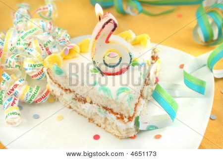 Slice Of Sixth Birthday Cake
