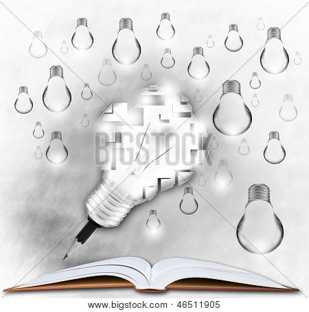 pencil and light bulb on open book