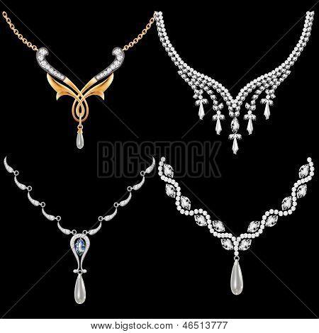 Conjunto de mujeres collar con piedras preciosas
