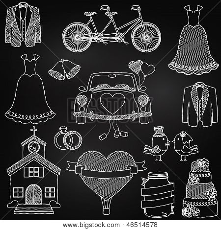 Chalkboard Style Wedding Themed Doodles
