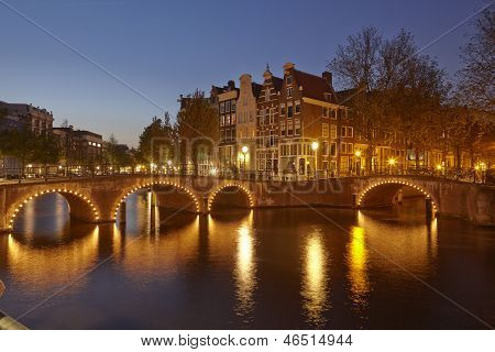 Amsterdam, Netherlands - Houses At A Canal In The Blue Hour