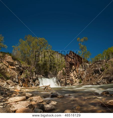 Beautiful panoramic view of the Crystal River and Crystal Mill, or Lost Horse Mill, an old wooden power house that used to drive an air compressor for the nearby silver mines in the Colorado mountains