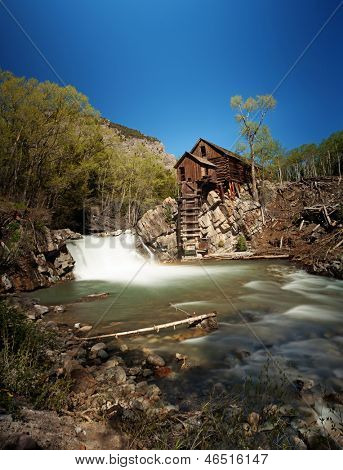 Crystal Mill, or Lost Horse Mill, is an old wooden power house on the Crystal River which had a waterwheel that used to drive an air compressor for the nearby silver mines in the Colorado mountains
