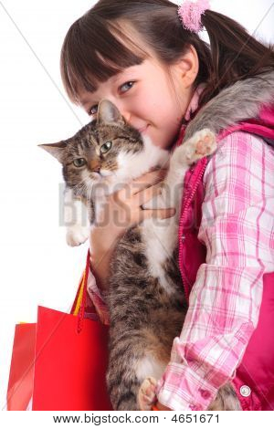 Young Girl And Her Cat