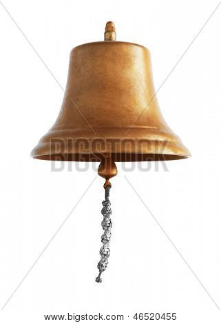 Antique brass ship's bell with a rope on a white background