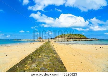 Saint Malo Bay, Stone Pathway, Grand And Petit Be Fort During Low Tide. Brittany, France.