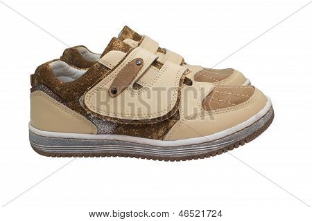 isolated shoes white shoe two child pair new baby boy small foot