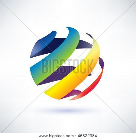 Abstract Rainbow Globe Icon