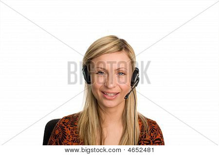 Business Woman Talking On Headset