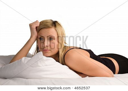 Woman Lying On Bed