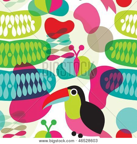 Seamless colorful retro exotic brazil toucan bird abstract organic shape illustration background pattern in vector