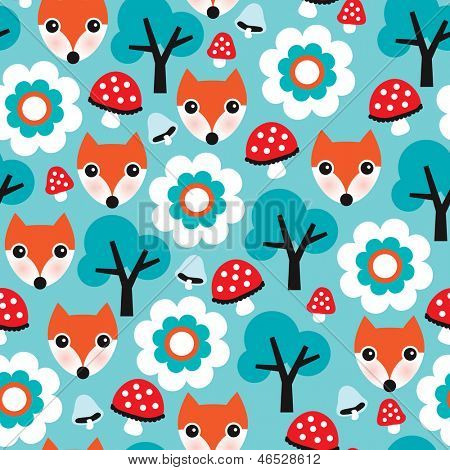 Seamless kids nature fox illustration and autumn elements background pattern in vector