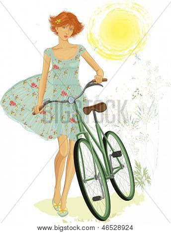 Illustration of a cute red teen girl walking with a bicycle in summer time over white background. EPS8