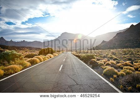 The road to the reserve Tenerife in sunrice, Canary islands, Spain