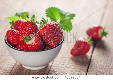 strawberry in plate close up