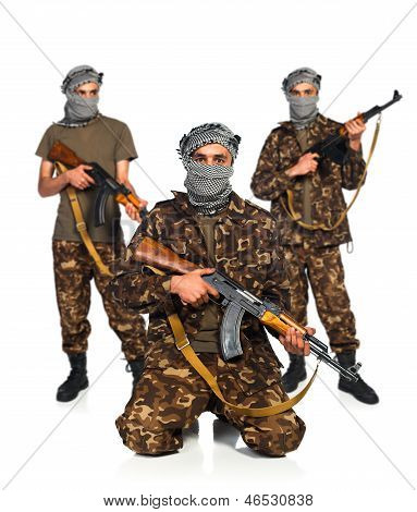 Arabs With Automatic Gun On White Background