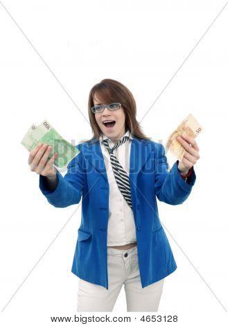 Happy Women With Money - Bank Concept