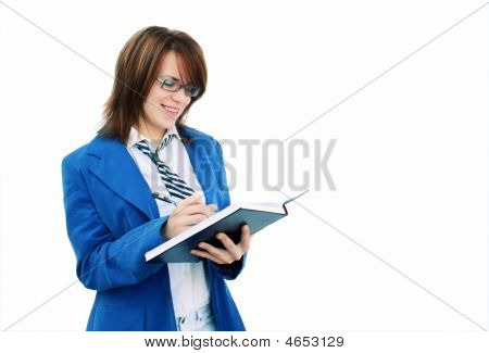 Business Girl Writing