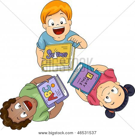 Illustration of Little Boys and Girls Each Holding a Book Looking Up
