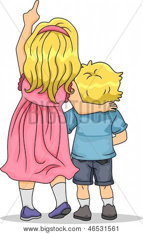 Back View Illustration of Girl and Boy Siblings Looking Up