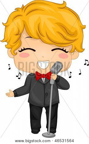Illustration of Little Boy using a Retro Mic for Singing
