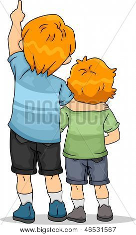 Back View Illustration of Boy Siblings Looking Up
