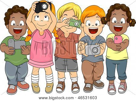 Illustration of Little Boys and Girls taking Pictures with their Cameras