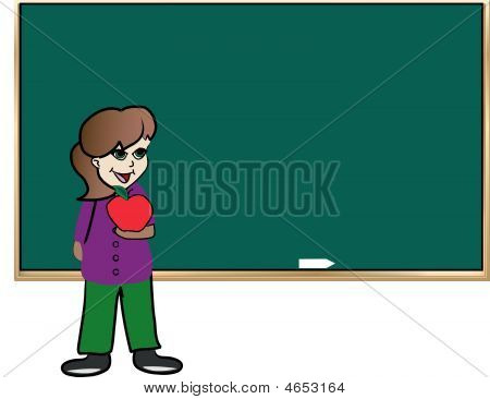 Girl Student At Chalkboard Holding Apple.