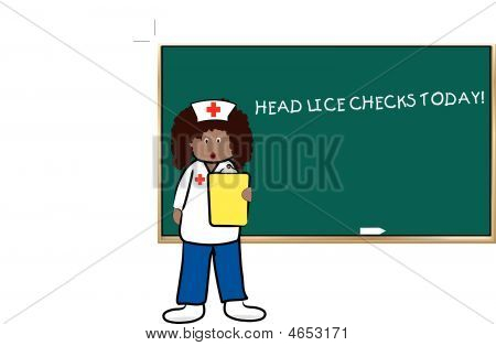 Woman Nurse Doing Head Lice Checks.
