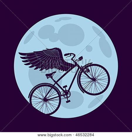 Cruiser bicycle is flying with wings over the circle of the moon. Editable layered vector.