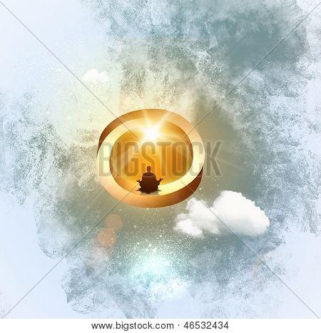 Silhouette of meditating man