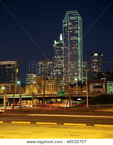 Skyscrapers at night, Dallas, USA.