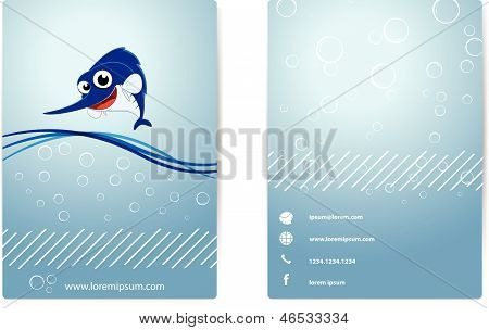 Business card . with happy marlin