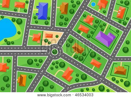 Map of suburb or little town
