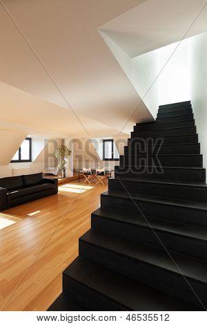 interior, beautiful loft, hardwood floor, view staircase black