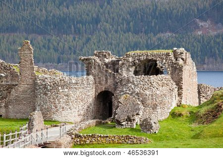 Ruins of Urquhart Castle at Loch Ness Inverness Highlands Scotland UK