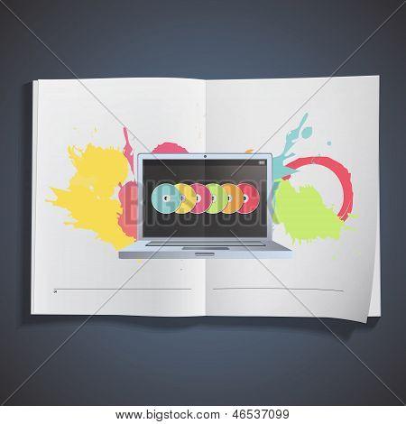 Modern Laptop Inside A Book. Vector Design.