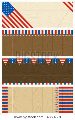 Four Wooden Banners With Elements Of Usa Banner