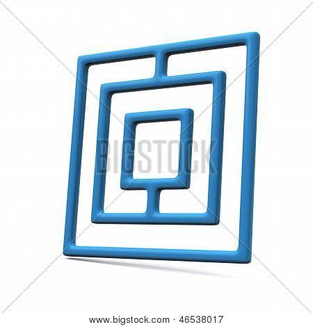Blue maze icon, 3d