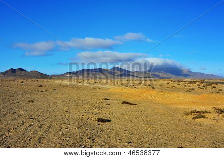 desert landscape in Jandia Natural Park in Fuerteventura, Canary Islands, Spain