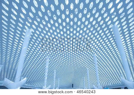metal and glass roof of a mall