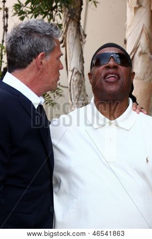 LOS ANGELES - MAY 31:  David Foster, Stevie Wonder at the David Foster Hollywood Walk of Fame Star Ceremony at the Capital Records Building on May 31, 2013 in Los Angeles, CA