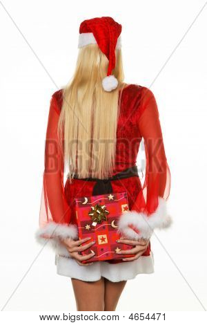 Female Santa Claus Brings Gifts